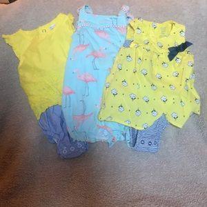3 Carter's infant girls summer rompers 9M
